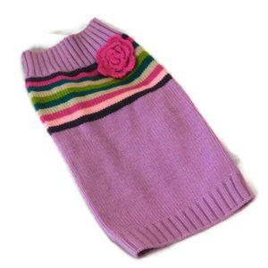 Dog Sweater Lilac Stripe and Pink Rose